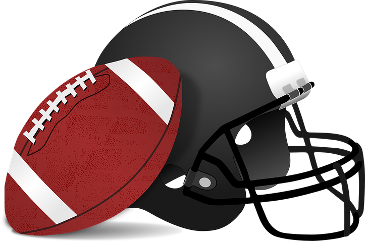 A drawing of an American Football next to a helmet.