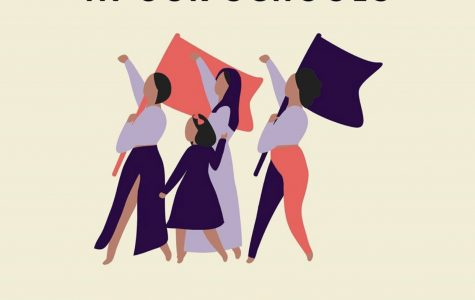 An illustration of 4 women waving flags and protesting.