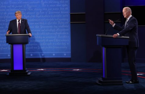 President Donald Trump and Democratic presidential nominee Joe Biden participate in the first presidential debate at the Health Education Campus of Case Western Reserve University on September 29, 2020 in Cleveland, Ohio.