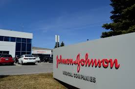 An image of the Johnson & Johnson building / logo.