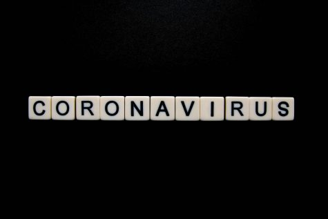 Coronavirus spelled out in white dice