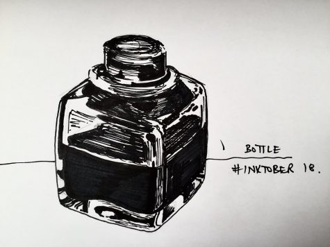 A ink drawing of a bottle of ink