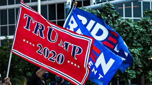 Image of a Biden and Trump Campaign flag taken from npcphilidalphia.com