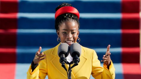 American poet Amanda Gorman reading her poem at the 2021 inauguration at the U.S. Capitol in Washington, on Wednesday, Jan. 20th, 2021.