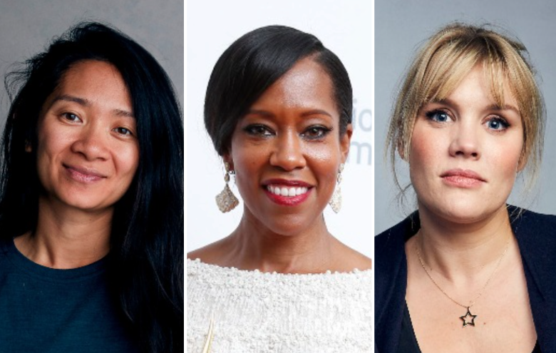 From left to right: Chloé Zhao, Regina King, and Emerald Fennell.