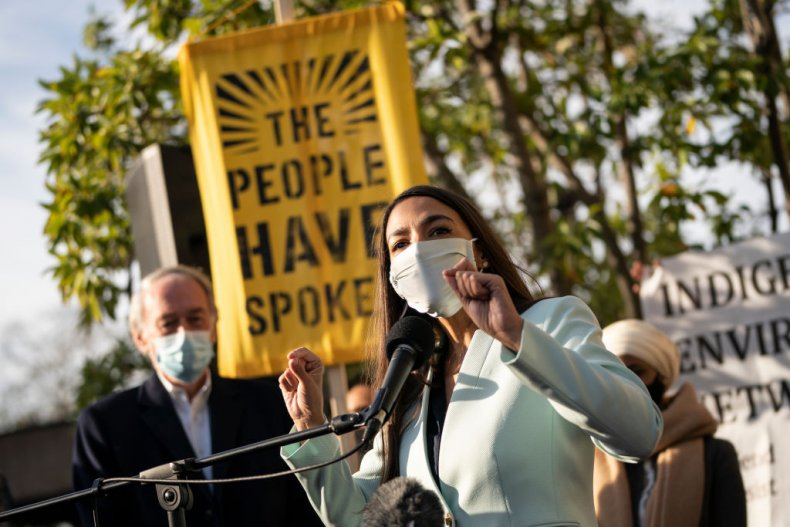 U.S. Rep. Alexandria Ocasio-Cortez (D-NY) speaks outside of the Democratic National Committee headquarters on November 19, 2020 in Washington, DC. Rep. Ocasio-Cortez and others called on the incoming administration of President-elect Joe Biden to take bold action on issues of climate change and economic inequalities.