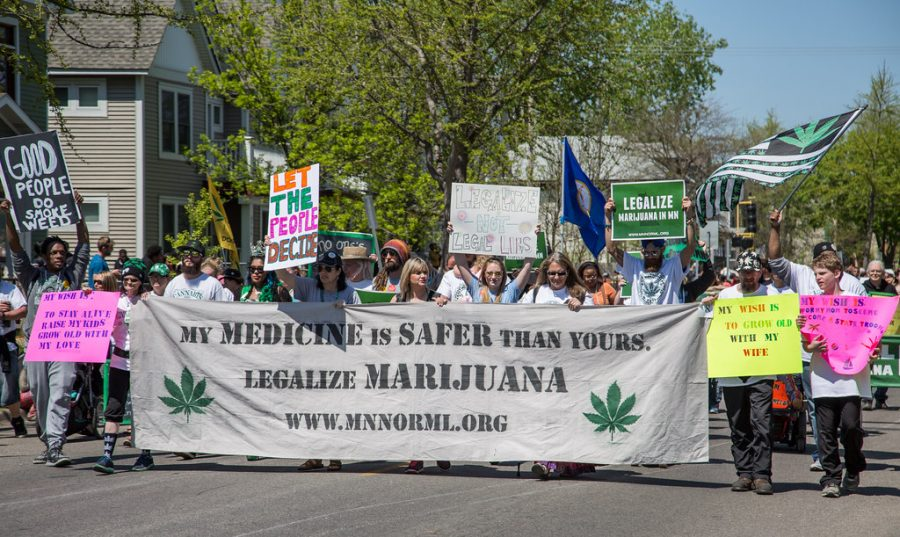 An image of a protest for marijuana legalization.