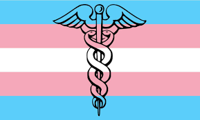 Trans flag with a medical symbol on it.