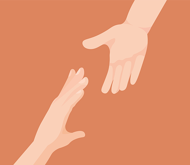 Hands reaching out toward each other.